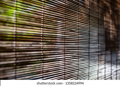 Bamboo wood blind window texture, Light and Shadow trees, Abstract seamless background, Asian decorating home, Close up shot, Selective focus