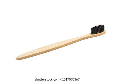 Bamboo wood toothbrush with black brush bristles