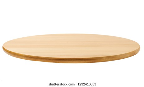 Bamboo or wooden rotating tray isolated on white background
