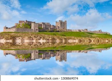 Bamburgh Castle, Northumberland, at high tide