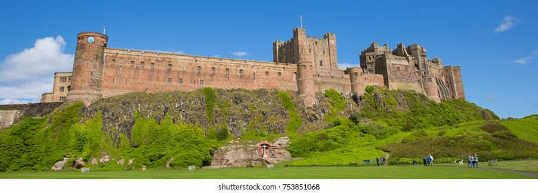 Bamburgh Castle Northumberland north east England UK panoramic view
