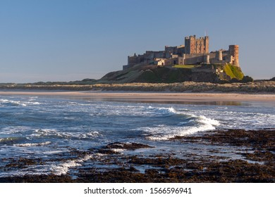 Bamburgh. England. 02.14.07. Bamburgh Castle on the northeast coast of England, by the village of Bamburgh in Northumberland. It is a Grade I listed building.