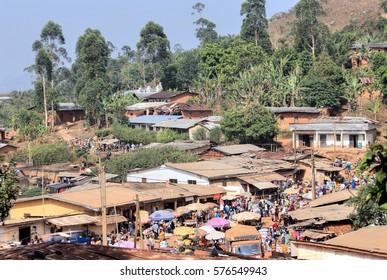 BAMENDA - CAMEROON / 19.01.2015: Traditional market place in a local village near to Bamenda City