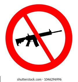 Ban of Assault Weapons in the United States After Several Shootings - Gun Vector Silhouette AR-15 Rifle - No Do Not