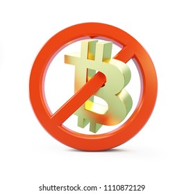 ban bitcoin on a white background 3D illustration, 3D rendering