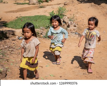 ban boe bak baw, laos - november 19, 2018: cheerful kids