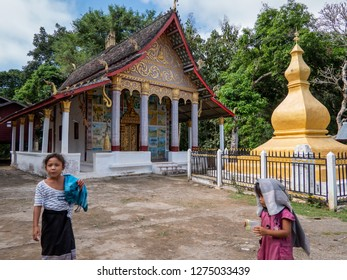 ban boe bak baw, laos - november 19, 2018: 600 year old mountain village on the banks of the mekong. minorities of the shan live here.