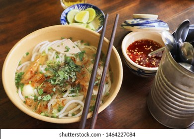 Ban Canh Ca Nha Trang is a popular tapioca noodle soup with fried fish cake, sliced pork and boiled quail egg from Nha Trang city, Vietnam