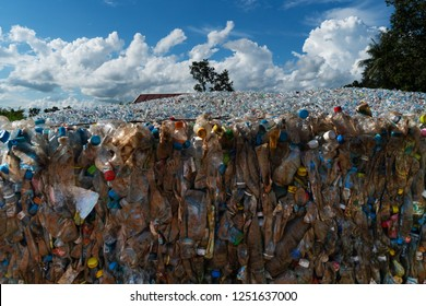 Ban Dung, Thailand - September 4, 2018: storage of used plastic bottles for recycling. plastic bottles are collected to be melted into new plastic items.