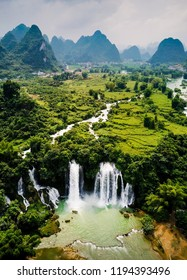 Ban Gioc Detian waterfall on the border between China and Vietnam aerial view