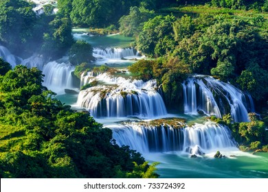 Ban Gioc waterfall in Cao Bang, Viet Nam - The waterfalls are located in an area of mature karst formations were the original limestone bedrock layers are being eroded. Aerial view