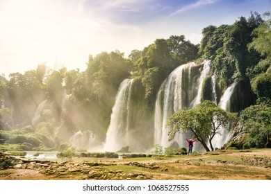 Ban Gioc Waterfall(Veitnam name) or Detian waterfall(Chinese name) Waterfall is the most magnificent waterfall in Vietnam, located in the border of Guangxi, China and Cao Bang , Vietnam.
