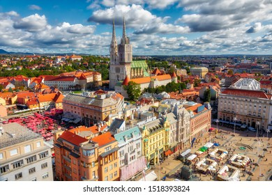 Ban Jelacic Square. Aerial view of the central square of the city of Zagreb. Capital city of Croatia. Image