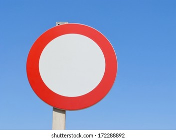 Ban on driving sign against the blue sky