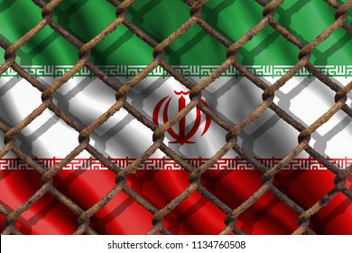 The ban on freedom of speech. The concept of the country's immigration policy regarding migrants, illegal immigrants and refugees. Steel grid on the background of the flag of Iran