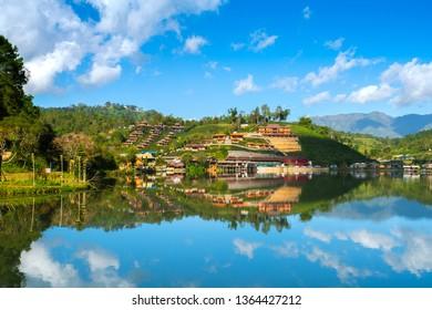 Ban Rak Thai, or Mae Aw, a Chinese Yunnan village on lakeside near Mae Hong Son, Thailand