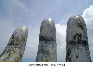 Bana Hill Danang Vietnam - 7 May 2019 : Giant hands in the Ba Na Hill Danang, Vietnam is favorite landmark of danang