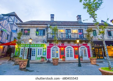 Bana Hills, Da Nang, Vietnam.JUNE 6 ,2017:European style building and restuarant at Bana Hills