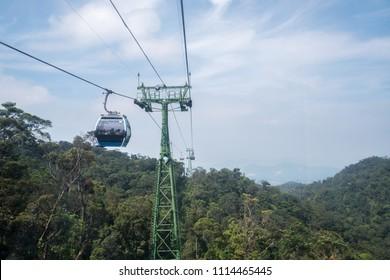 Bana Hills, Danang Vietnam - 22 May 2018: Nice mountainous landscape viewed from Ba Na Hills, DaNang