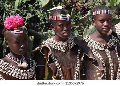 Bana women. Key Afer Market. 31st December 2015. South Ethiopia. Africa.