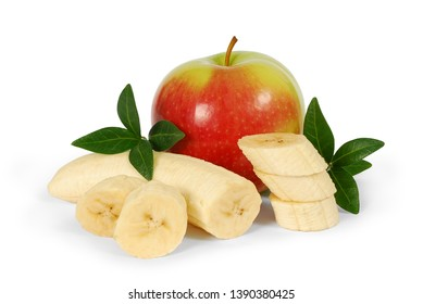 Banana and apple with leaves isolated on white background. Сlipping path. Fruits as package design element. Full depth of field.