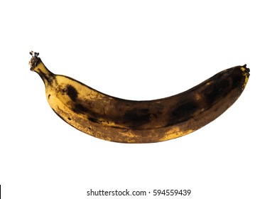Banana. Bananas isolated on white background. Banana with brown spots. Black rotten banana.