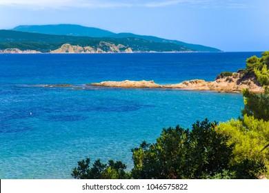 Banana beach on the Skiathos island, Greece
