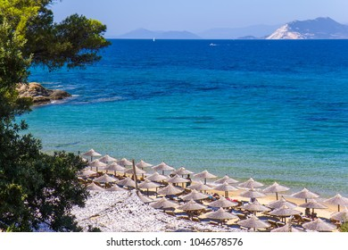 Banana beach on the Skiathos island, Greece