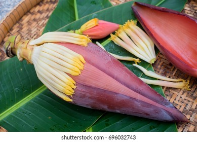 Banana blossom on banana leaf.