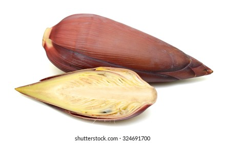 banana blossom with slice isolated on white