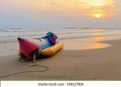 Banana boat lay on the beach, Holiday in Rayong, Thailand