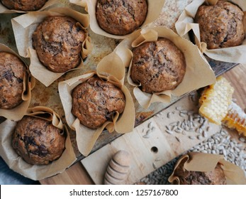banana bread muffins with honey and chocolate