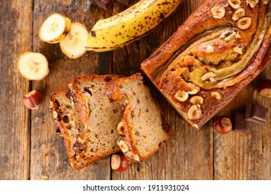banana bread with nuts- top view
