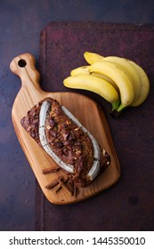 banana bread with walnuts and chocolate - sweet food
