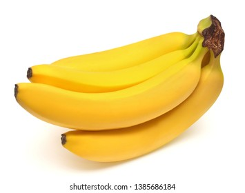 Banana bunch isolated on white background. Top view, flat lay