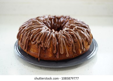 banana bundt cake with hazelnut spread frosting.