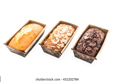 Banana cake with almond on top and Butter cake and Chocolate cake with chocolate chip on top isolated on white background