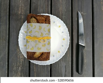 banana cake with knife