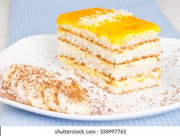 Banana cake and banana slice