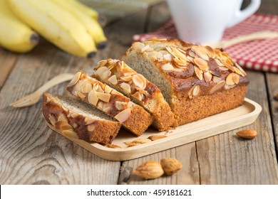 Banana cake topping with almond slice. Selective focus.