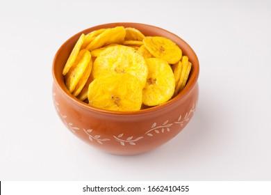 Banana chips made from raw banana an Indian snack
