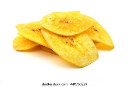 Banana chips on white background