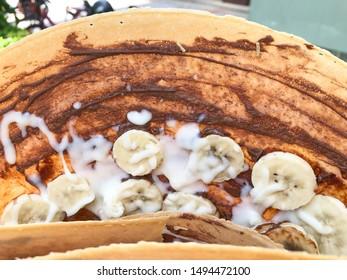 Banana chocolate crispy crepe closeup