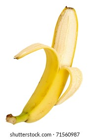 banana cleared of a peel isolated on a white