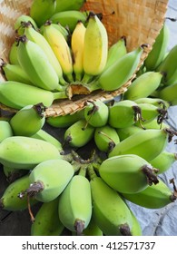 Banana Cultivated yellow and green in Bamboo Basket