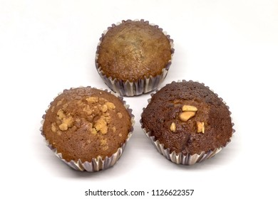 Banana cup cake , bael cup cake and longan cup cake on white background