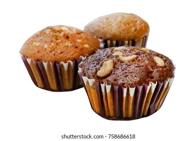 Banana cup cake , bael cup cake and longan cup cake isolated on white background, clipping path included.