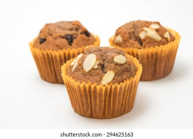 Banana cup cake isolated in white background