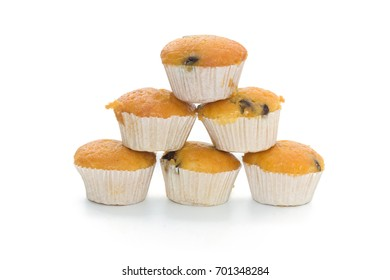 Banana Cup Cakes with raisin topping isolated on white background