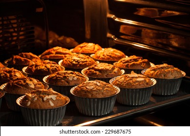 banana cupcake fresh and good taste in hot oven. cooking